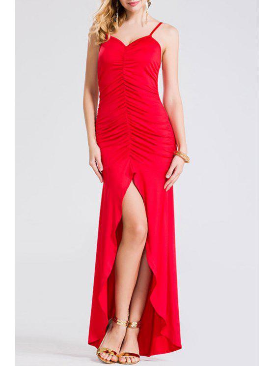Ruched High Slit Asymmetric Prom Dress RED: Maxi Dresses L | ZAFUL