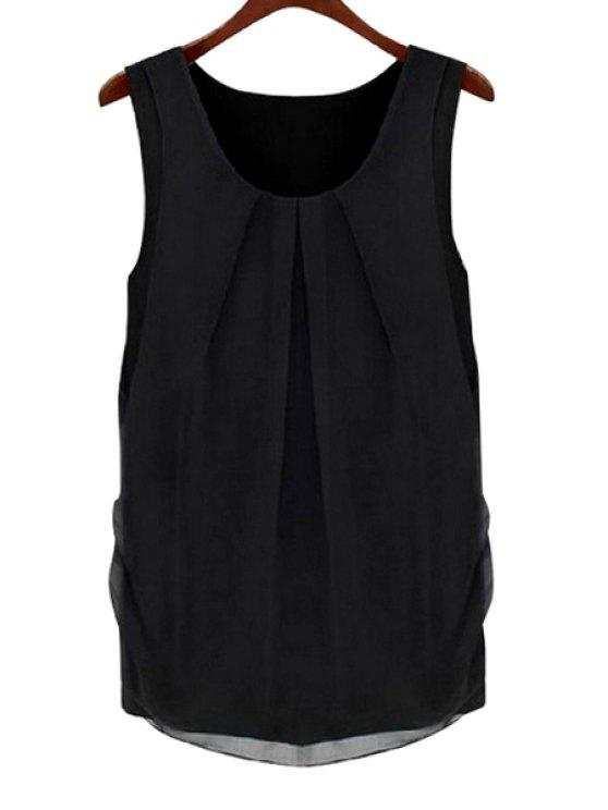 shop Solid Color Scoop Neck Sleeveless Blouse - BLACK XL