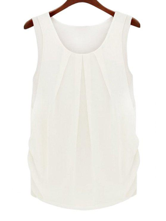 best Solid Color Scoop Neck Sleeveless Blouse - WHITE M