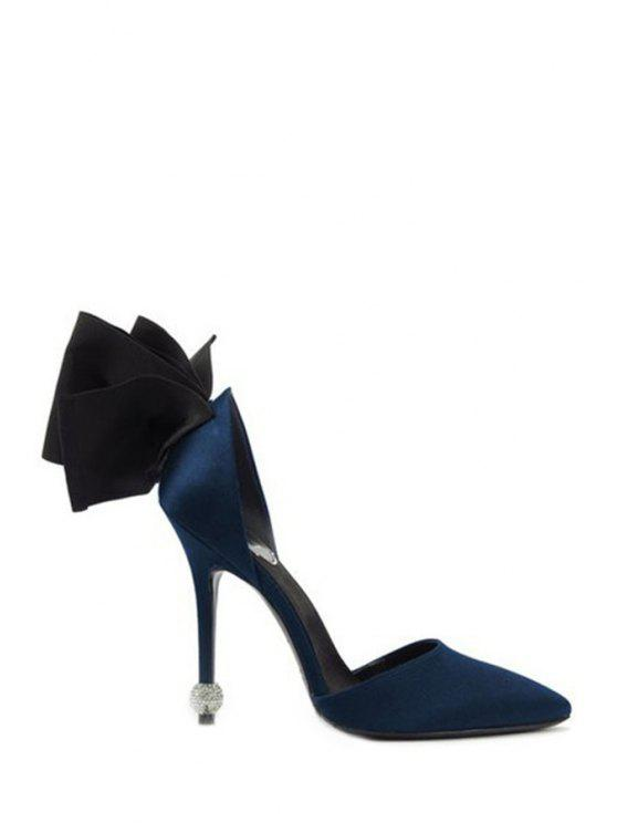 Bow Two-Piece Pointed Toe Pumps - Bleu 38