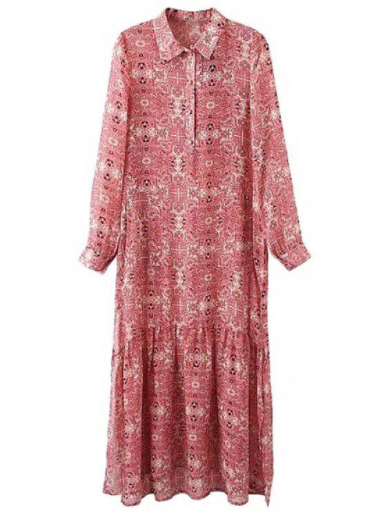 chic High Slit Turn-Down Collar Long Sleeve Dress - PINK S