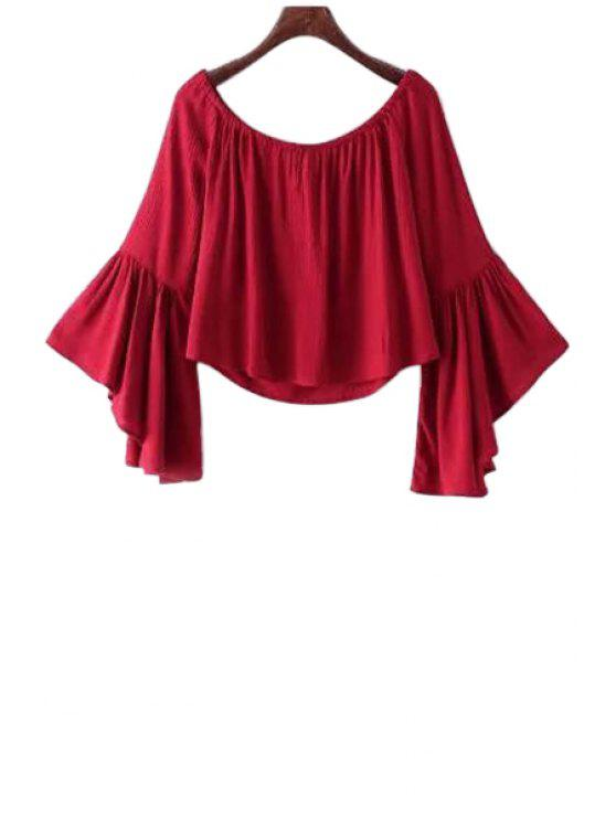 buy Solid Color Boat Neck Flare Sleeve Blouse - RED S