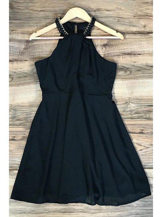 outfit Black Sleeveless Chiffon Dress - BLACK XL