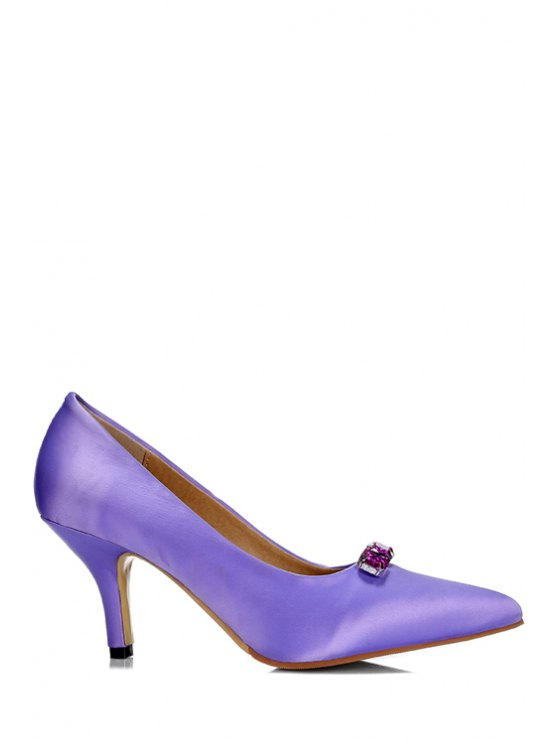 Rhinestone Solid Color Pointed Toe Pumps BLACK PURPLE ROSE