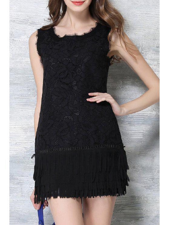 fashion Crochet Flower Fringed Black Lace Dress - BLACK XL