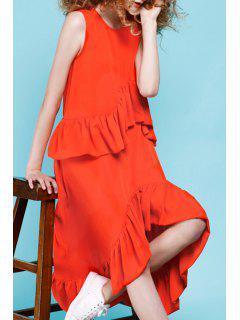 Asymmetrisches Midi Kleid Mit Rüschen - Roter Zirkon S