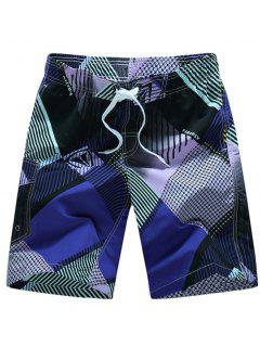 Straight Leg Drawstring Geometric Print Flap Patch Pokect  Men's Board Shorts - Purple L