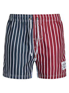 Straight Leg Drawstring Color Block Splicing Vertical Stripes Print  Men's Board Shorts - Xl