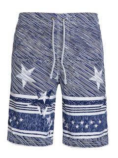 Straight Leg Drawstring Stars Stripes Printing Men's Board Shorts - S