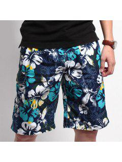 Straight Leg Drawstring Floral Printed Flap Pocket Men's Board Shorts - Blue L