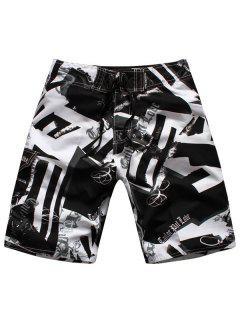 Straight Leg Drawstring Hit Color Geometric Print Men's Board Shorts - White And Black Xl