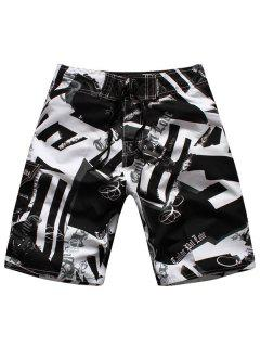 Straight Leg Drawstring Hit Color Geometric Print Men's Board Shorts - White And Black M