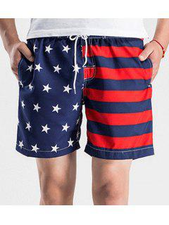 Straight Leg Drawstring Hit Color Splicing Stars Print Men's Board Shorts - Blue And Red M