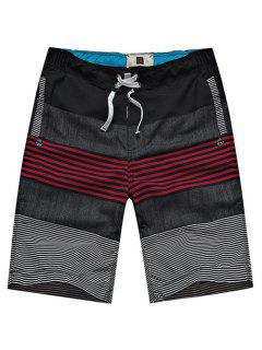 Straight Leg Drawstring Hit Color Stripes Splicing Men's Board Shorts - Red M