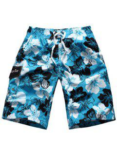 Straight Leg Elastic Waist Floral Print Patch Pocket Men's Board Shorts - Azure L