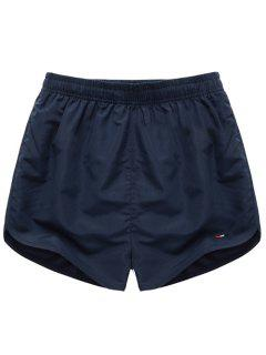 Simple Elastic Waist Solid Color Men's Shorts - Deep Blue S