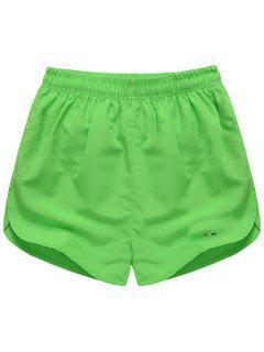 Sencilla Cintura Elástico Sólido Pantalones Cortos Para Hombres De Color - Verde Claro M