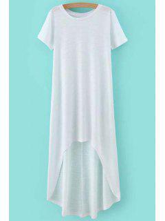 Alto-Bajo Cuello Redondo Vestido De Manga Corta - Blanco L