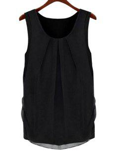 Solid Color Scoop Neck Sleeveless Blouse - Black S