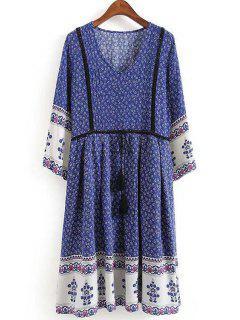 Ethnic Style Print V Neck 3/4 Sleeve Dress - Blue