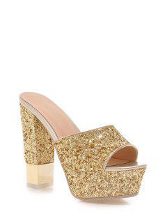Sequins Platform Chunky Heel Slippers - Golden 39