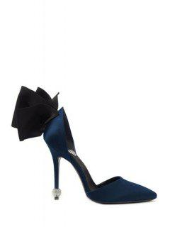 Bow Two-Piece Pointed Toe Pumps - Blue 38