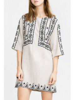Embroidered Scoop Collar Half Sleeve Dress - White M
