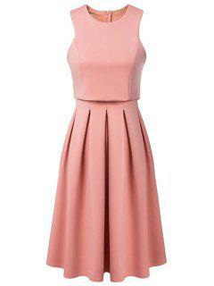 Pleated Round Neck Sleeveless Dress - Pink L