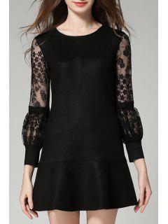 Sheer Lantern Sleeve Suede Dress - Black Xl