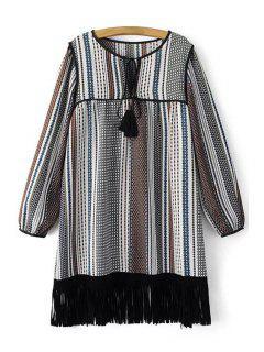 Tassels Print Round Neck Long Sleeve Dress - Black L
