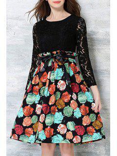 Crochet Blume Gedruckt Kleid - Schwarz Xl