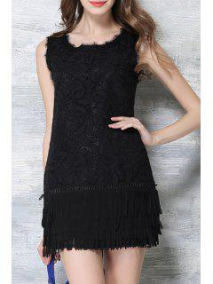 Crochet Flower Fringed Black Lace Dress - Black Xl