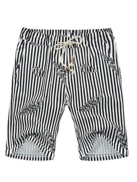 hot Stripe Lace Up Feather Printed Fifth Pants Beach Loose Shorts For Men -   Mobile