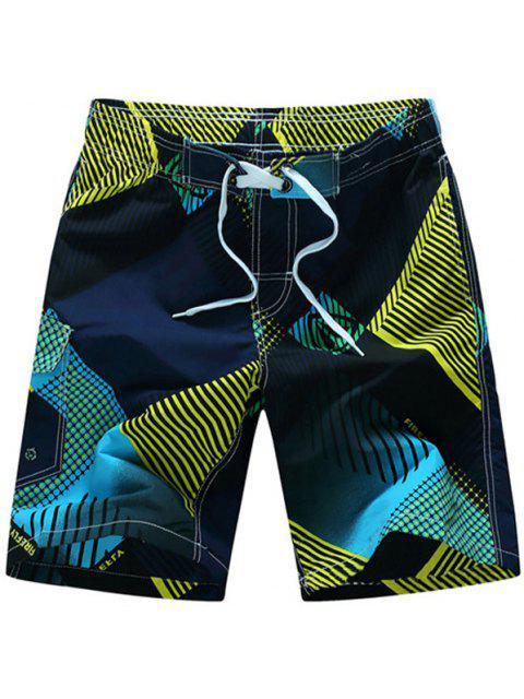 Pierna recta con cordón geométrico impresión Flap Patch Pokect hombres de los cortocircuitos del tablero - Amarillo L Mobile