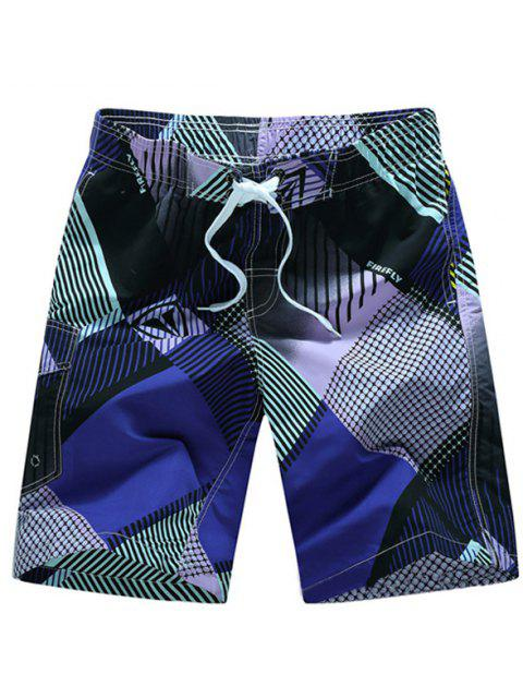 buy Straight Leg Drawstring Geometric Print Flap Patch Pokect  Men's Board Shorts - PURPLE L Mobile