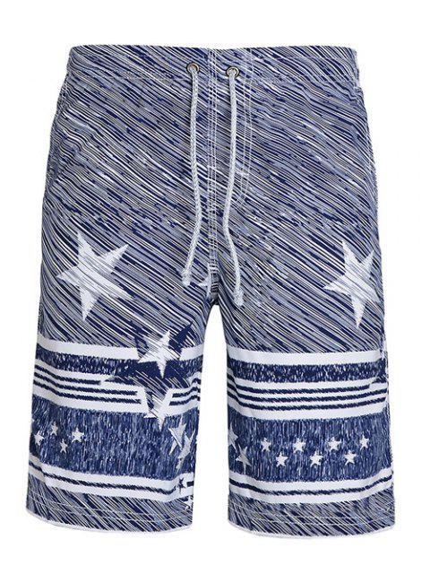 Conseil Shorts jambe droite Drawstring étoiles Stripes Impression Men - Multicolore M Mobile