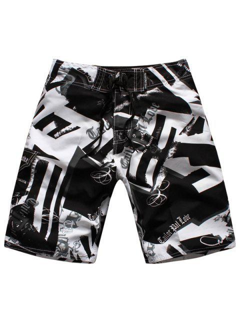 Pantalones cortos de la pierna recta con cordón del color del golpe de impresión geométrica de los hombres - Blanco y Negro M Mobile