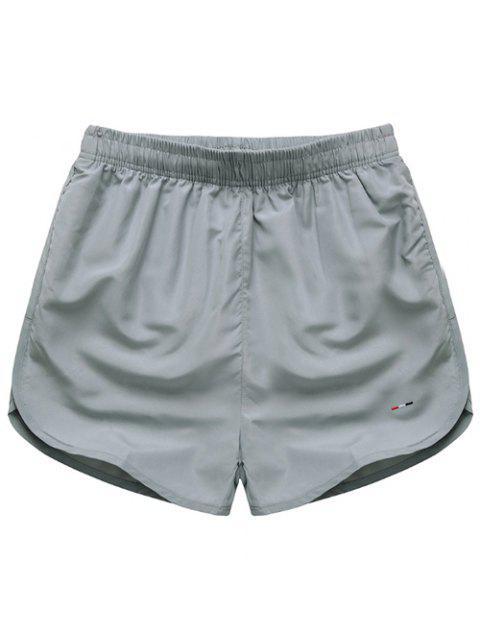Taille élastique Simple Shorts Hommes Color solides - gris M Mobile