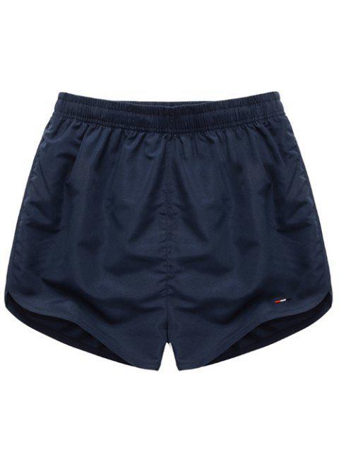 Taille élastique Simple Shorts Hommes Color solides - Bleu profond S Mobile