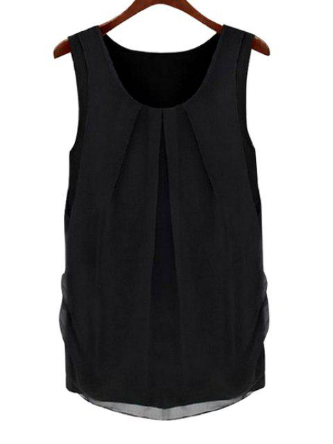 Solid Color Round Kragen Sleeveless Bluse - Schwarz S Mobile