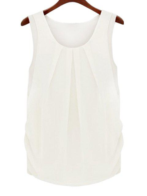 online Solid Color Scoop Neck Sleeveless Blouse - WHITE L Mobile