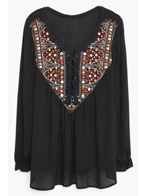 women's Lace Up Scoop Neck Long Sleeve Embroidery Blouse - BLACK XL Mobile