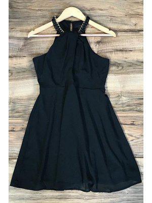 Negro Vestido De La Gasa Halter - Negro L