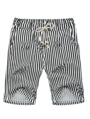 Lâche Stripe Lace Up Feather Imprimé Pantalons Cinquième shorts de plage pour les hommes