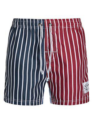 Hétéro Rayures Leg Drawstring Color Block Splicing Vertical Board Shorts Imprimer Hommes