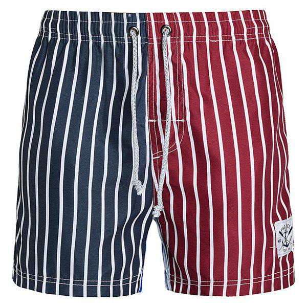 Straight Leg Drawstring Color Block Splicing Vertical Stripes Print  Men's Board Shorts 171653902
