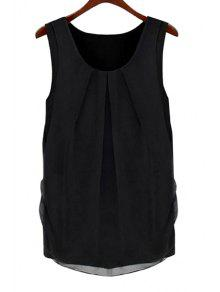 Solid Color Scoop Neck Sleeveless Blouse - Black Xl