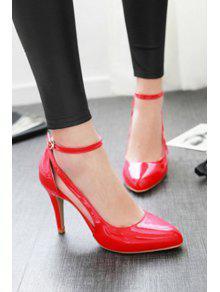 fe7565fa06e 34% OFF  2019 Ankle Strap Patent Leather Stiletto Heel Pumps In RED ...