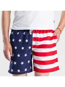 Straight Leg Drawstring Hit Shorts Conseil De Couleur Splicing étoiles Imprimer Hommes - Rouge Et Blanc Xl