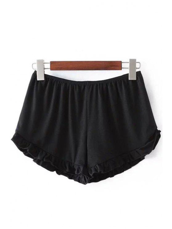 buy Solid Color Trimming Elastic Waist Shorts - BLACK ONE SIZE(FIT SIZE XS TO M)